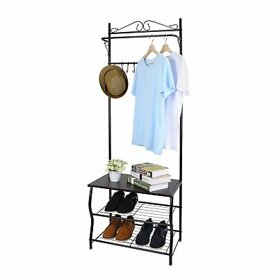 White Coat Rack Hat Stand Seat Umbrella Hanger Scarf Hall Hook Clothes Hooks NEW
