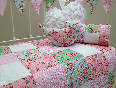 4pce  Shabby Chic Girls Baby Nursery Bedding Alice Cot Quilt Vintage Floral Set