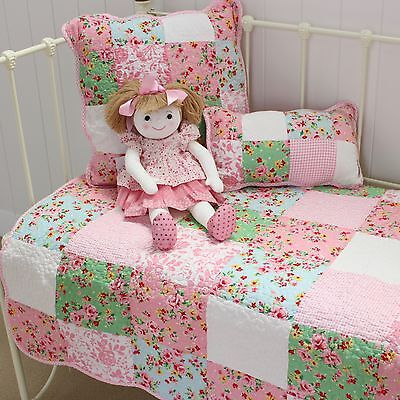 Alice Cot Quilt Shabby Chic Girls Baby Nursery Vintage Style Patchwork Floral