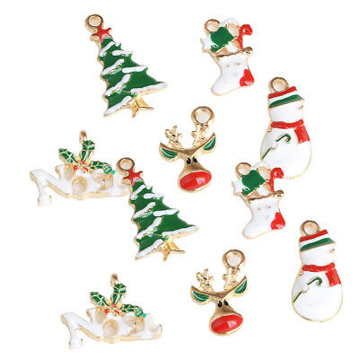 10pcs Mixed Christmas Charms Set Jewelry Pendant Xmas Holiday Decor Ornament