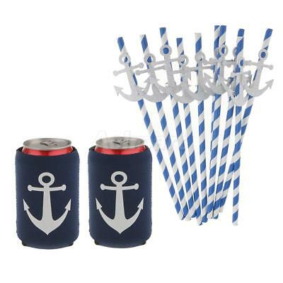 2x Anchor Beer Soda Bottle Can Cooler+10x Paper Straws Birthday Party Decor