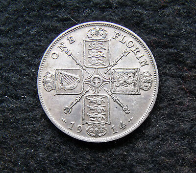 1914 Two Shillings 2/- George V silver .925 coin about fine