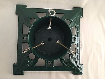 """Cast Iron Christmas Tree Stand Heavy Green 15""""x15"""" Vintage Ornate NEW"""