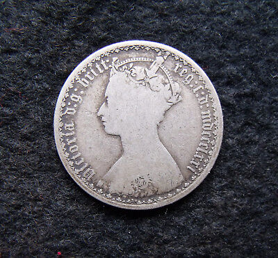 1871 Gothic Florin Two Shilling coins Victoria One tenth of a pound
