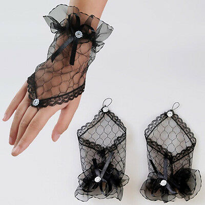 Gloves - Black Lace Bridal Wedding Party Halloween Fingerles FROM UK