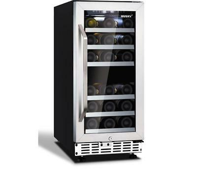 Husky HUS-ZY4-D-SS-26 Dual Zone Wine Chiller 26 Bottle Stainless Steel ZY4 PWW