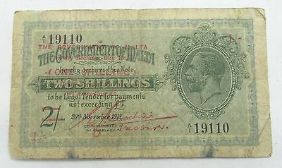 Ww1 Banknote Two Shillings Reduced To One Malta George V 1918 Antique Currency