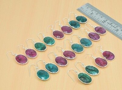 Wholesale 10Pc 925 Solid Sterling Silver Cut Red Ruby,emerald Hook Earring Lot