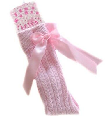 Baby Girls Ribbed Knee High Socks with Bow by Soft Touch - Pink