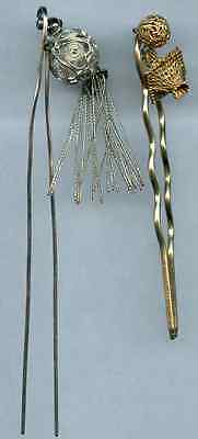 Vintage Lot of 2 Silver Tone Gold Tone Chinese Art Hair Head Pin Tassel