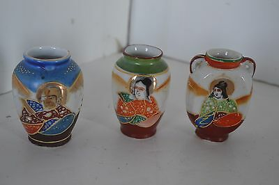 Vtg Oriental Occupied Japan Satsuma Style Miniature Ginger Jar Vase Lot of 3