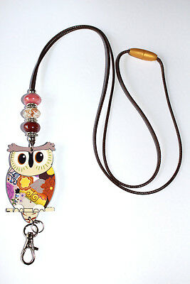 Pinks and Browns Paisley Owl Beaded Lanyard / ID Badge or Cruise Card Holder