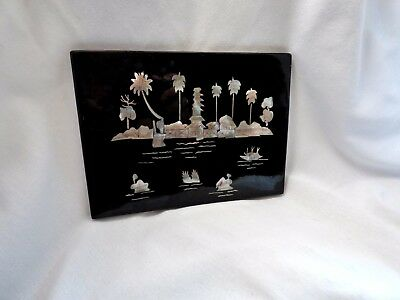 "Wall Hanging vintage Black Lacquer Mother Pearl Panel  Beach scene  6"" x 8"""
