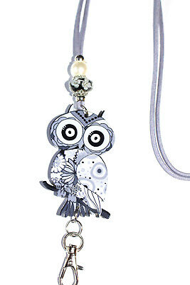 Lavender Paisley Owl with Murano Beaded Lanyard / ID Badge or Cruise Card Holder