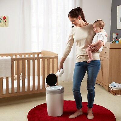 Grey Tommee Tippee Simplee Diaper Pail Baby Room Disposal Trash Can+ 1 Refill
