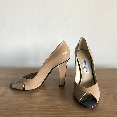 Jimmy Choo Nude Patent Leather Sandals Heels Shoes 40