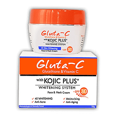 Gluta - C Vitamin C Face Neck Cream - Skin Lightening Kojic Plus Glutathione SPF