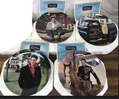 """Lot of 4 Elvis Delphi """"In The Footsteps of the King"""" Collectible Plates w/ COAs"""