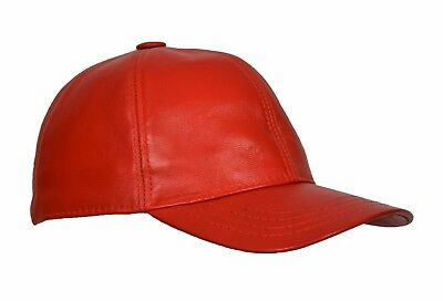 High Quality Real RED Leather Baseball Cap Velcro Fastening One Size Fits All