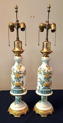 "Pair PORCELAIN FRENCH VINTAGE LAMPS FRANCE HAND PAINTED 2-Light 32"" Tall Brass"