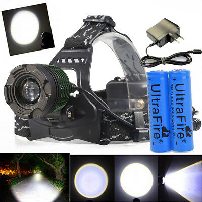 Tactical 20000LM T6 Zoomable LED 18650 Hunting Headlight Lamp Battery+Charger US