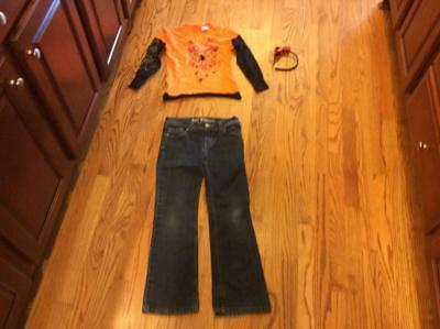 Halloween Girls Outfit, T-Shirt, Jeans and Head Band, Size 7/8, EUC