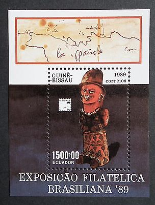 Guinea Bissau (1989) Brasiliana '89 / Maps / Philately Exhibition - Mint (MNH)
