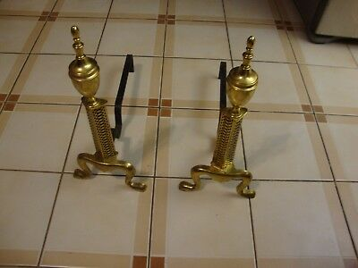 Antique Vintage Brass Andirons With Fire Dogs Log Holders