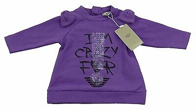 Armani Baby Girls Purple Tshirt/Top 100% Genuine Luxury SZ 6m