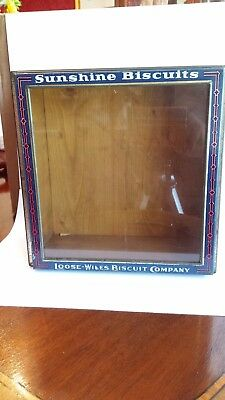 Sunshine Biscuits Loose-Wiles Biscuit Co Glass Hinged Store Display Lid