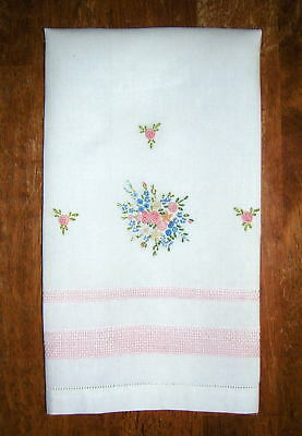 Stunning Expertly Embroidered Bullion Stitch Floral Linen Hemstitch Guest Towel