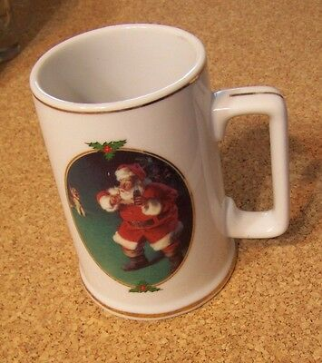 1996 Santa Claus Coca Cola When Friends Drop In ceramic mug cup Christmas coke