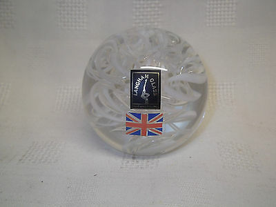 Langham Glass White Streamer Paperweight