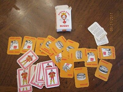 "Vintage BURGER KING PLAYING CARDS RUMMY MINIATURE COMPLETE 1 1/4 X 1 3/4"" 1970s"