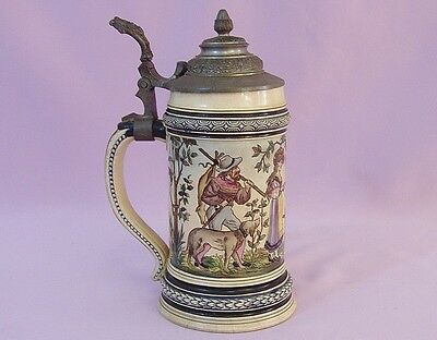 """9"""" ANTIQUE, 19th c GERMAN PEWTER TOP STEIN   Signed E. Demroth"""
