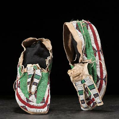 1880 -1910  Native American Northern Plains Beaded Hide Leggings and Moccasins