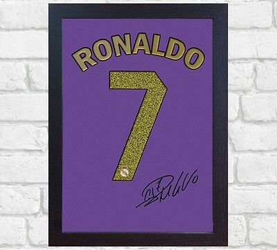 Cristiano Ronaldo Real Madrid signed autograph t-shirt CANVAS 100% cotton Framed