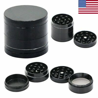 Black 4 Layers Metal Tobacco Crusher Hand Muller Smoke Herbal Herb Leaf Grinder