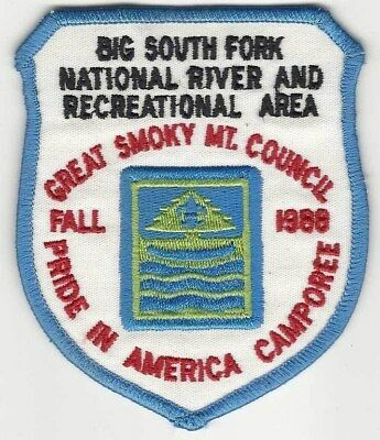 BSA Great Smoky Mt. Council 1988 cor scout patch Big River Fork National River