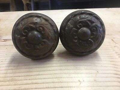 Set of Cast Iron Heavy Fancy Ornate FLORAL DOOR KNOBS Antique VTG  Hardware