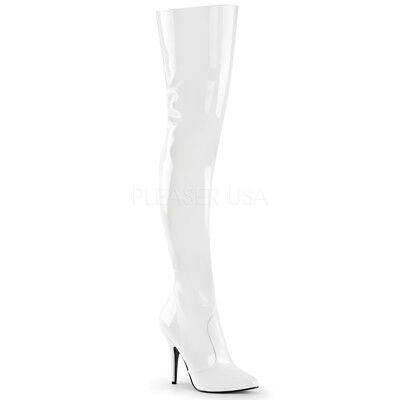 295fc14c3ce Pleaser SEDUCE-3010 Women s Sexy White Patent High Heel Classic Plain Thigh  Boot