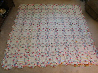 Vtg 1920s Hand Sewn Small Scale Double Wedding Ring Unfinished Feedbag Quilt Top