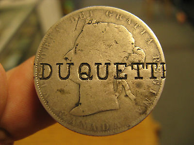 Canada 1881 silver 50 Cent with DUQUETTE counterstamp - probably Quebec related