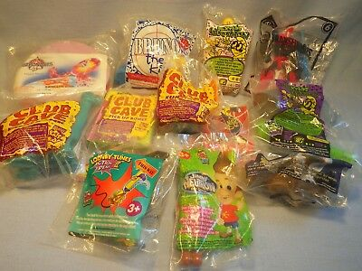Fast Food Toys Sealed MIP  Club Cave, Bruno The Kid, ET, Looney Tunes + 12 items