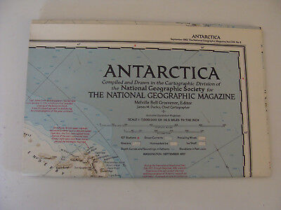 Vintage National Geographic Society  Map 1957 Antarctica