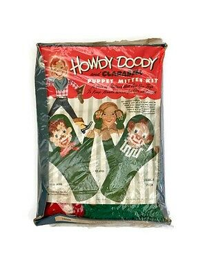 Vintage Howdy Doody Puppet Mitten Kit Clarabell Knitting Vintage 1950s Toy