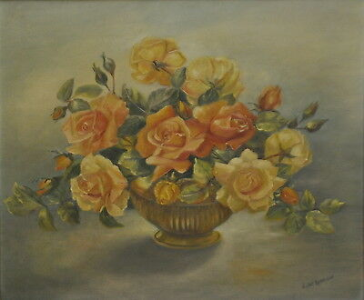 Stunning Large Oil Painting On Canvas Pink Roses Signed Gilt Frame