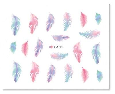 Nail Art Sticker Water Decals Transfers Multicoloured Feathers (E431)