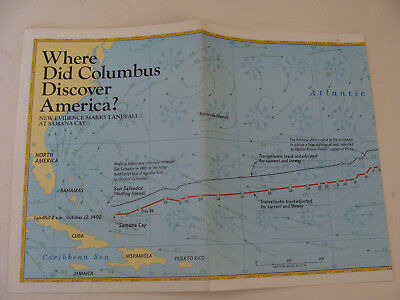 National Geographic Society  Map 1986 Where Did Columbus Discover America