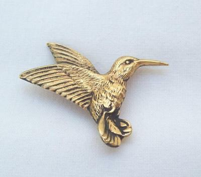 Vintage Lilli Heart Pewter Hummingbird Pin Gold Plated